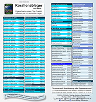 Preisliste Korallen und Dienstleistungen 10/2020